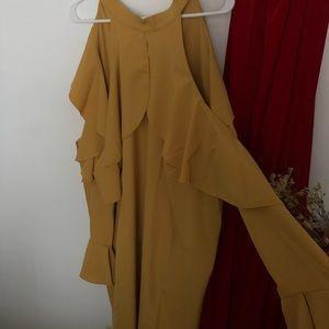 Mustard Eloquii Long Sleeved Cold Shoulder Dress